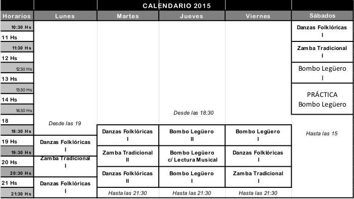 Clases de Folklore 2015 en Capital Federal.